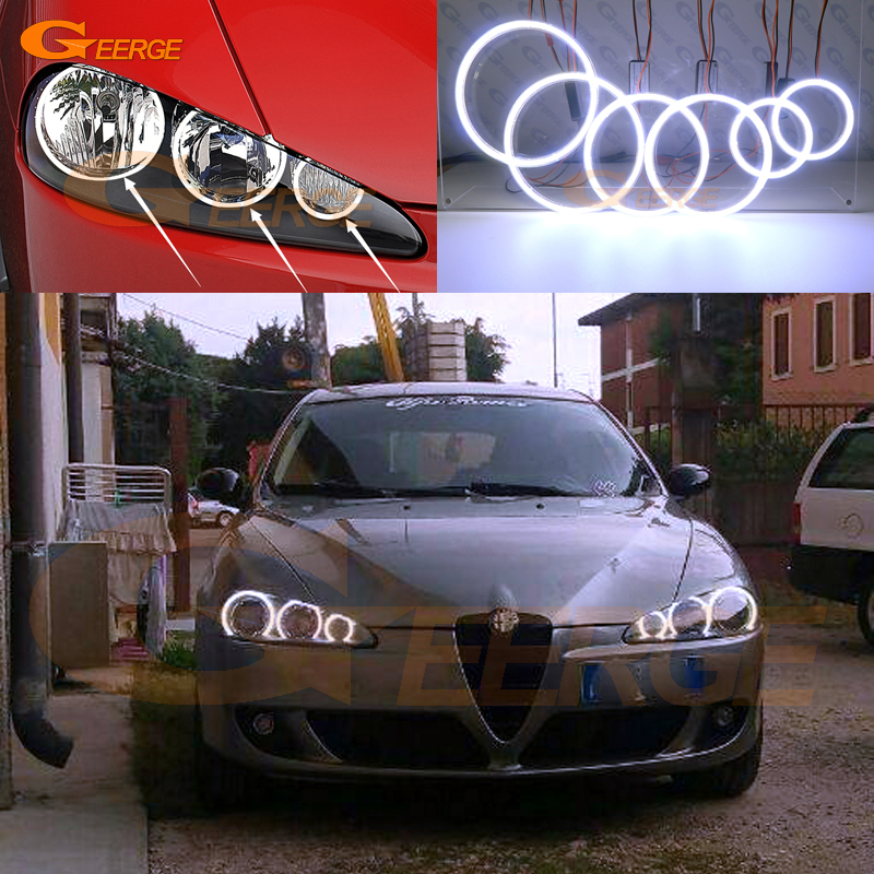 For Alfa Romeo 147 2005 2006 2007 2008 2009 2010 Excellent 6 pcs Ultra bright illumination COB led angel eyes kit halo rings