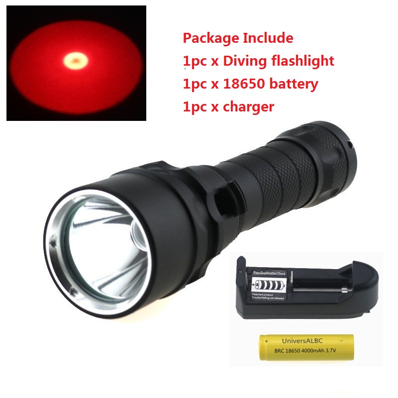 Red light Led diving flashlight cree xm l2 1000 Lumens Underwater torch lanterna scuba lamp waterproof zaklamp 18650 battery diving 4000 lumens cree xm l2 led 3 l2 led t6 flashlight torch waterproof underwear lamp light super white light