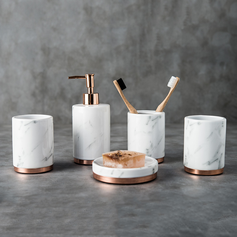 Ensembles de salle de bain 5 pièces porte-brosse à dents de haute qualité en marbre céramique lavage tasse fournitures de salle de bain