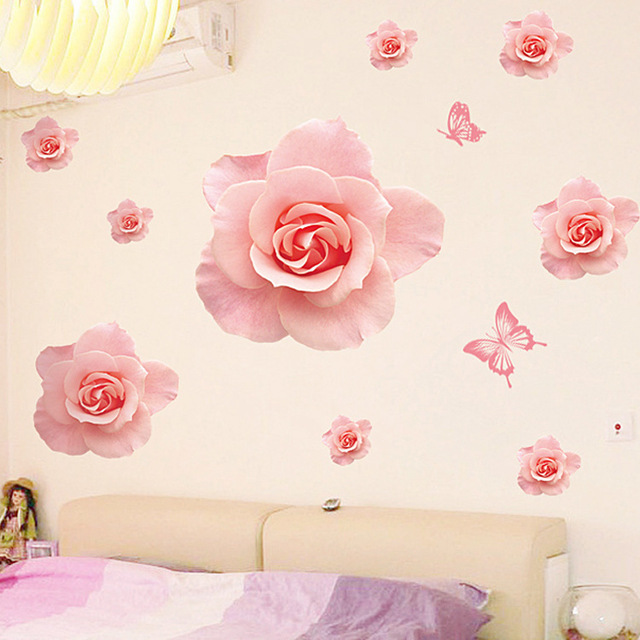 pink rose petals wall decal for living room bedroom home decor