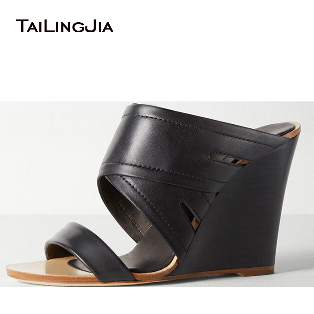 Wedges Shoes For Women Black White Khaki High Heel Mules Ladies Wedge Sandals 2018 Women Wedge Slippers Comfort Shoes Plus Size