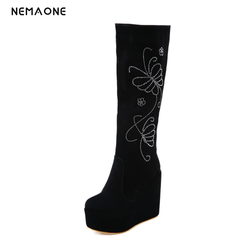 NEMAONE  Sexy Slim Women's Wedges Knee high Boots Brand High Heels Platform Boots Trifle Slip on Winter Boots Shoes Woman Boot enmayer low heels wedges shoes woman slip on knee high boots for women round toe winter warm boots tassels charms platform shoes