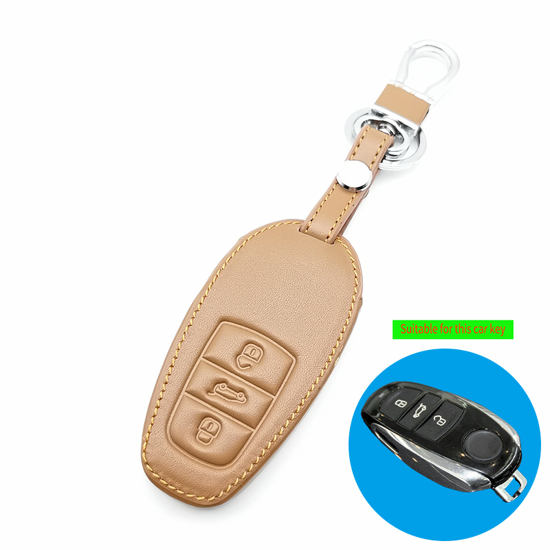 Two Color Genuine Car Key Chain Leather Remote Control Car Key Cover Case For Volkswagen T ouareg 3 button Smart Smart Key Shell
