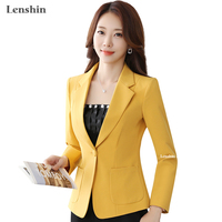Lenshin Straight And Smooth Blazer Two Big Pocket Jacket Office Lady Yellow Coat Business Formal Wear