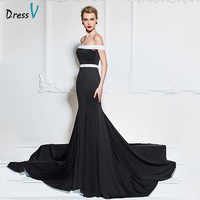 Dressv Black Long Evening Dress Sexy Off The Shoulder Mermaid Sweep Train Luxurious Formal Party Dress