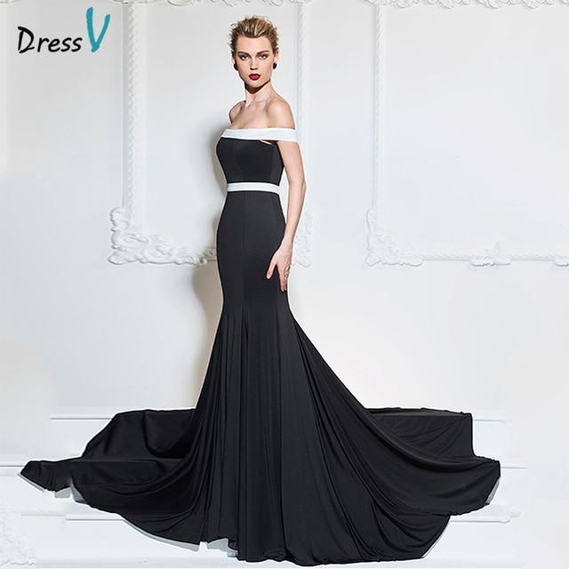 c3a50d28677a Dressv nero lungo abito da sera sexy al largo della spalla della sirena sweep  treno di