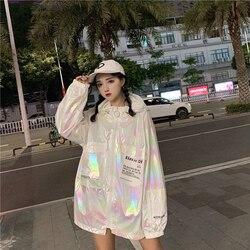 Luźne błyszczące kurtka kobiety na co dzień Neon kurtka wiatrówka z kapturem srebrna kurtka lato cienkie kurtki Plus rozmiar z długim rękawem odzieży wierzchniej 6