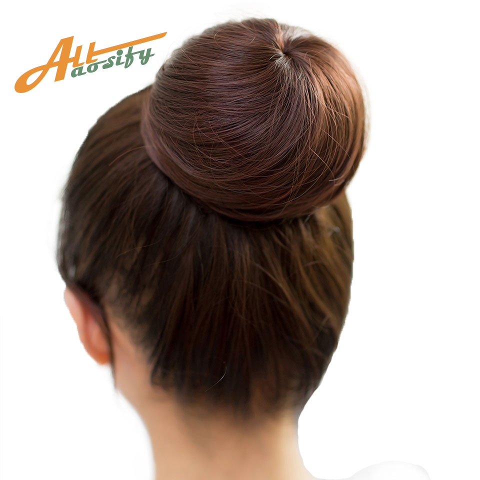 Allaosify 10 Colors Available Bun Hair Chignon Synthetic Donut Roller Hairpieces High
