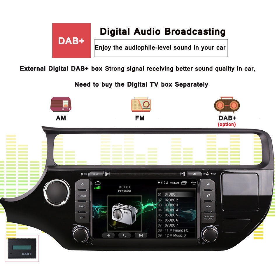 factory sell best 8core android 9.0 px5 rk3188 auto stereo car music video radio fm mp5 media gps monitor hd screen for rio 2015 - 5