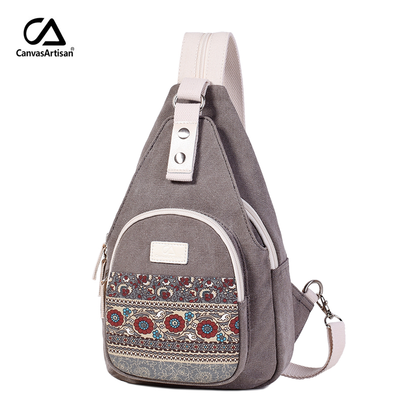 Canvasartisan New Women's Canvas Shoulder Bag Retro Style Daily Travel Small Backpacks Bag Female Casual Floral Chest Bags