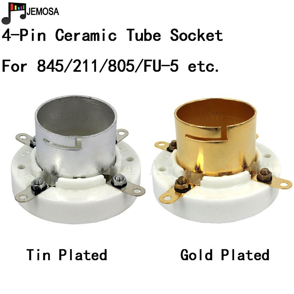 1PC Ceramic Tube Socket 4Pins Electron Tube Socket For 845 211 805 FU-5 Vacuum Tube Free Shipping