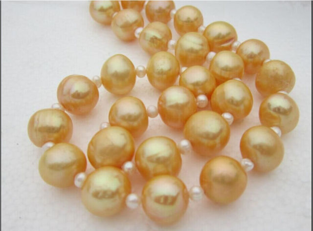 charming + 12-13MM natural real south sea gold pearl necklace 1814k t