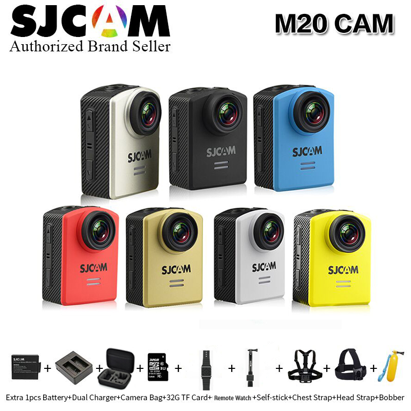 SJCAM M20 Wifi Action Camera 2K 16MP sports video cam Car Dash Camcorder with charger /camera bag/ remote control watch /monopod ntk96660 sjcam m20 wifi gyro sport action camera hd 2160p 16mp imx 206 bluetooth watch self timer lever remote control raw cam