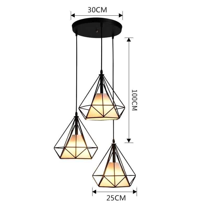 Modern Industrial Pendant Light Wrought Iron Black Iron Birdcage Lighting Scandinavian Loft Pyramid Lamp Metal Cage Ceiling Lamp