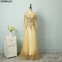 YIDINGZS Gold Evening Dresses 2017 Sequined Party Robe De Roiree Tulle Fromal Long Sleeve Dress