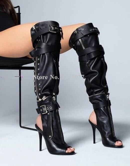 Black Over the Knee Gladiator Long Boots Ladies Peep Toe Zipper Decor Thin Heels Buckles Women Boots Fashion Punk Female Shoes