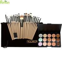 15 Colors Face Blusher Concealer Palette 20 Pcs Wooden Handle Brushes Makeup Base Foundation Concealers Face