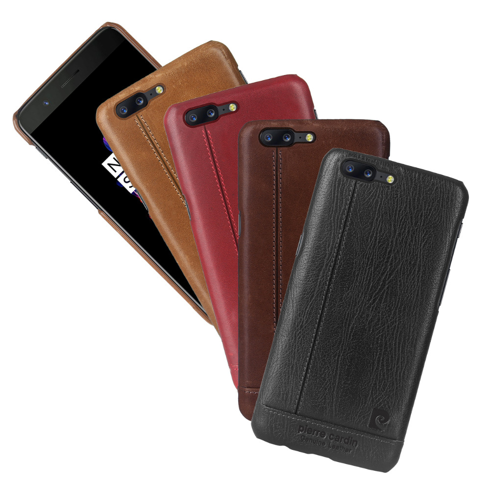 Pierre Cardin Genuine Leather Hard Back Cover For One Plus 5 Case Oneplus 5 Case Fashion Ultra Thin Slim Case Free Shipping