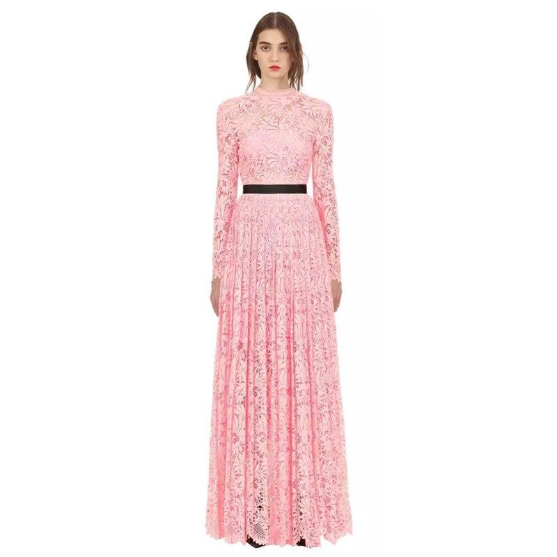 À Longues Haute Robe Robes Automne Rose Fleur 2018 Dentelle Hanzangl Évider Plissée Manches Qualité Portrait Femmes Auto Parti IgY7yf6bv