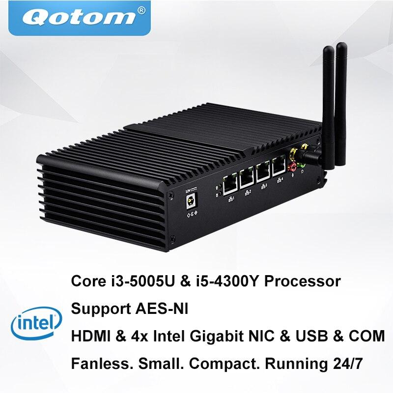 QOTOM pfSense i3 i5 AES-NI avec 4 Gigabit NIC Précharge Pfsense Sans Ventilateur Mini PC Routeur Pare-Feu