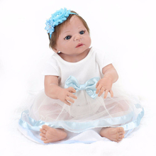 NPKDOLL 22 inches doll newborn full silicone bebe girl blue eyes child birthday gift realistic adorable babies born dolls