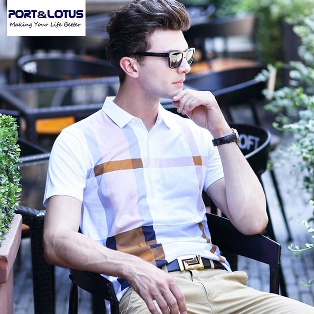 Puerto & Lotus Hombres Polo Marca Camisa A Cuadros Ropa Importada de ropa ropa de marca Polo de Manga Larga 024 de los hombres mens al por mayor