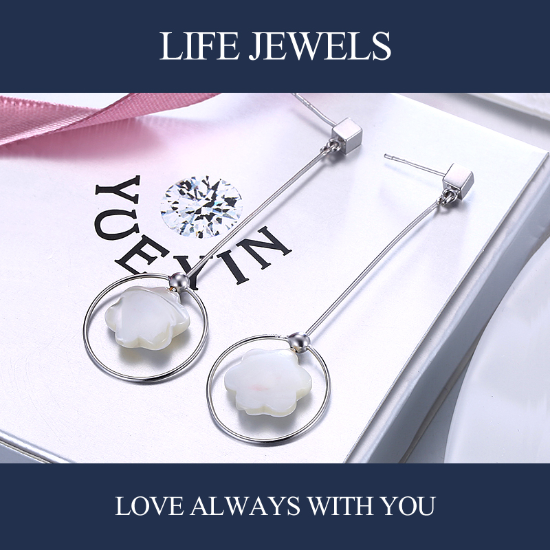 Authentic 100 925 Sterling Silver Crystal Drop Earrings l Women Luxury Sterling Silver Valentine 39 s Day Jewelry Gift 18108 in Earrings from Jewelry amp Accessories