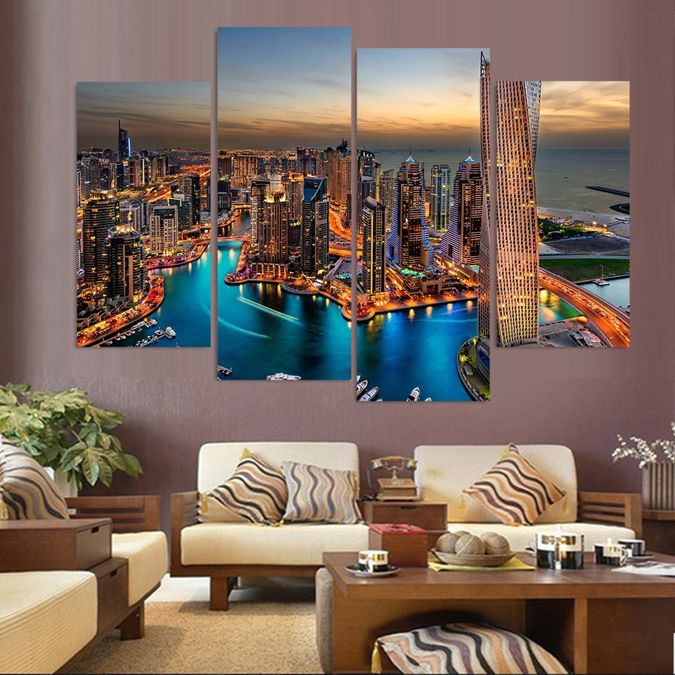 Canvas Painting 4 Piece Canvas Art Dubai UAE Skyscrapers HD Printed Home Decor Wall Art Poster Picture for Living Room