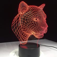 Luz 3D Decoración LED lámpara de mesa USB carga dormitorio sala de estar Bar atmósfera Decoración LED lámpara acrílica leopardo Batman calavera lámpara(China)