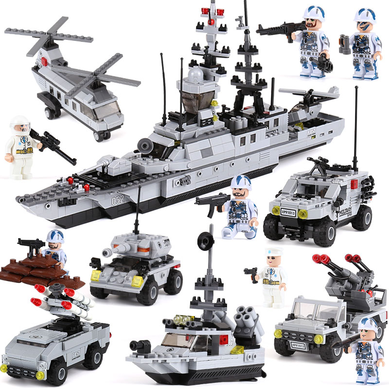 XIPOO 1090Pcs Hero Battleship Military Ship DIY Model Building Blocks Bricks Sets Educational Gift Toys for Children Boy Friends ...