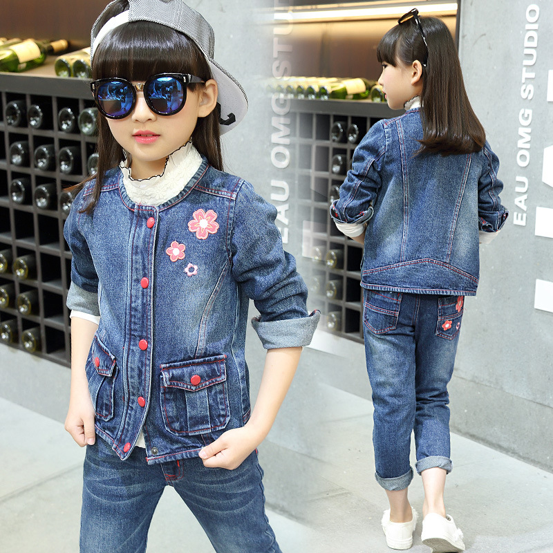 ФОТО 2016 autumn girls clothing suit children girls clothes casual costume single breasted jacket +jeans suits clothes for girl