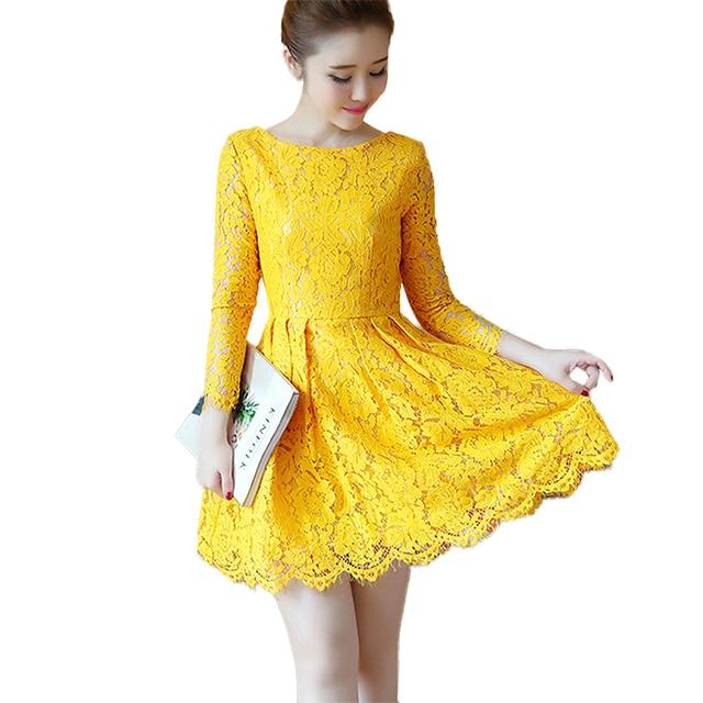 2e1d56926 Primavera otoño LACE vestido moda mujer o-cuello manga larga Slim elegante  Partido de encaje