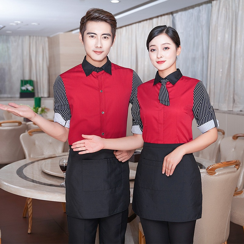 Waitress Work Clothes Jacket Long Sleeves Hot Pot Shop Uniform Restaurant Cafe Catering Hotel Breathable Waiter Overalls H2343