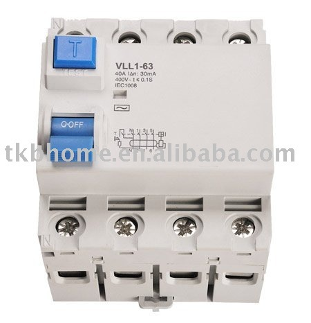 low voltage Residual Current Circuit breaker(rccb) with 4 pole+ CE certification.