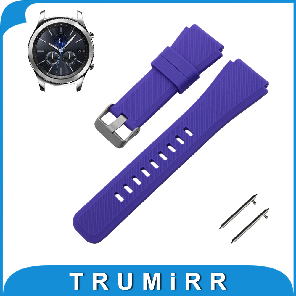 Silicone Rubber Watch Band for Samsung Gear S3 Classic / Frontier Stainless Steel Buckle Strap Quick Release Wrist Bracelet 22mm  hot sale rubber silicone bracelet strap watch band for samsung gear s3 frontier high quality watchband replacement