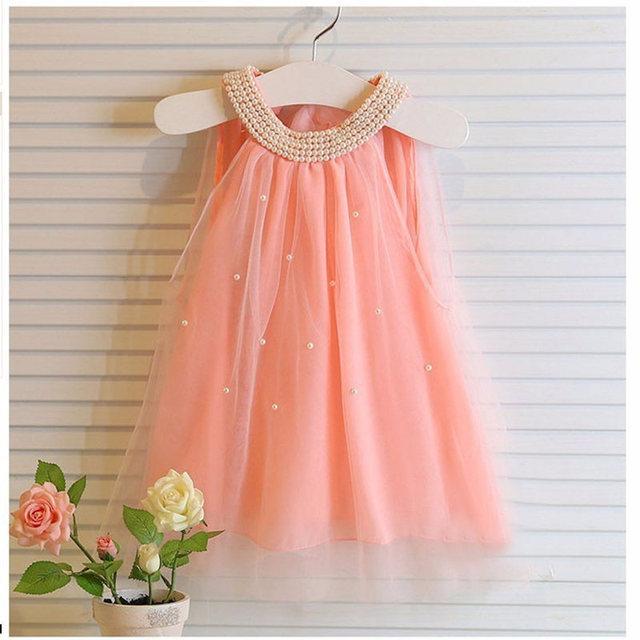 2017 Summer Dresses For Girls Kids Chiffon Girls Dress Cute Pearl Collar Mini Tulle Clothing Children Baby Kids Dress