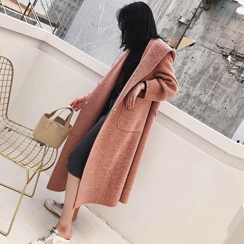 Slim Long Casaco Pink De Veste Zt759 Réel 2018 Coréen Élégant gray Fourrure Automne Hiver 20Loma Feminino Manteau 80Laine Vêtements Femmes HDIE92