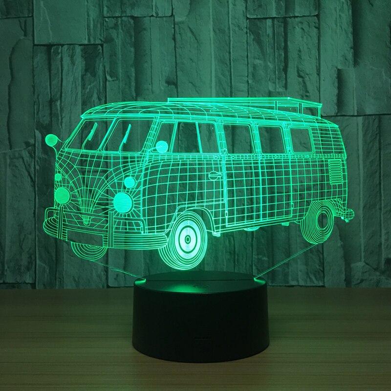 3d wizualne Illusion Camping autobus Lampa LED przezroczysty akryl Night Light Led Lampa 7 kolor zmiana dotykowy Lampa stołowa dla dzieci zabawki