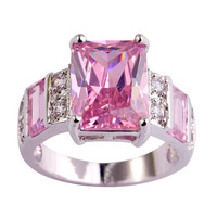 Wholesale Suitable For Any Occasion Emerald Cut Pink & White Sapphire 925 Silver Ring Size 7 8 9 10 11 12 Women Bridal Wedding