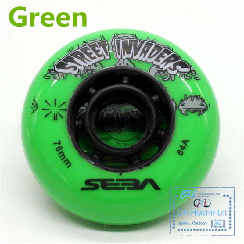 Image 4 - 4 pcs/lot 84A Street Invaders Slalom FSK Inline Skate Wheels for SEBA HV, Yellow Green Blue Red Black White 80mm 76mm 72mm-in Scooter Parts & Accessories from Sports & Entertainment