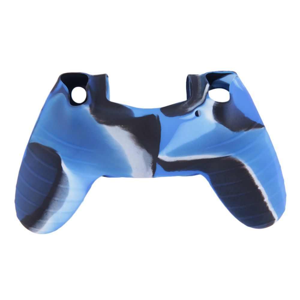 Serin kamuflaj yumuşak silikon kapaklı kılıf koruma cilt Sony Playstation 4 için PS4 Dualshock 4 denetleyici konsolu çıkartmaları