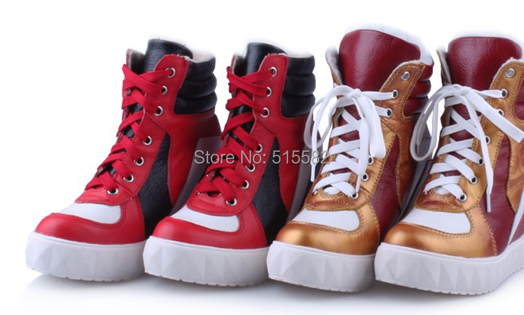 2017 platform thick bottom hidden wedges casual shoes winter genuine leather lace up warm boots height increasing elevator shoes