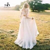 Long Sleeves Wedding Dress Lace Bride Dress Two pieces Beach Informal Cheap Robe de mariee 2018