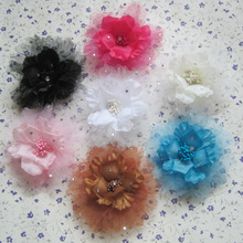 1PCS Electric drill gauze Fabric Flowe Flower Corsage Hair Clips Party Gift Fashion Woman Lady Hair Accessories Brooch Pins
