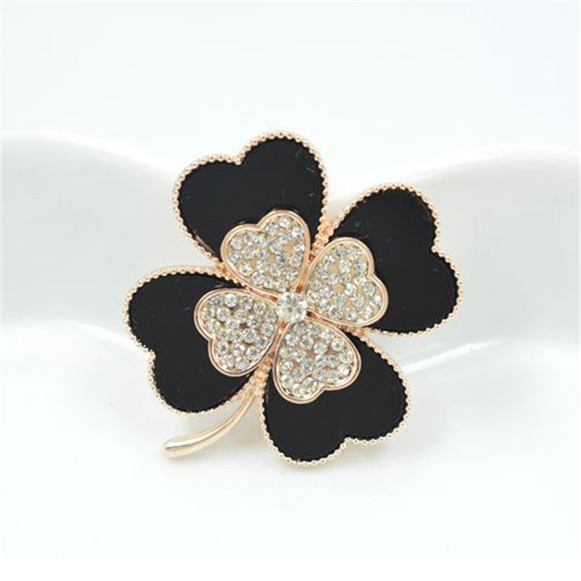 Fashion jewelry black crystal rhinestone flower brooch pin safety in pins and brooches for women ladies four leaf clover brooch