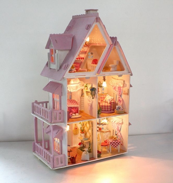 Super Cute Large Pink and White Wooden Doll House