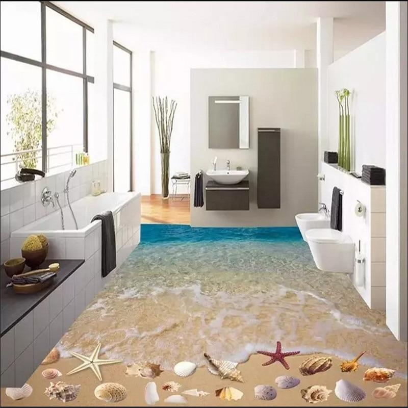 Custom 3D painting floor wallpaper PVC adhesive wear non-slip waterproof thickened self-adhesive wall sticker Murals shell beach
