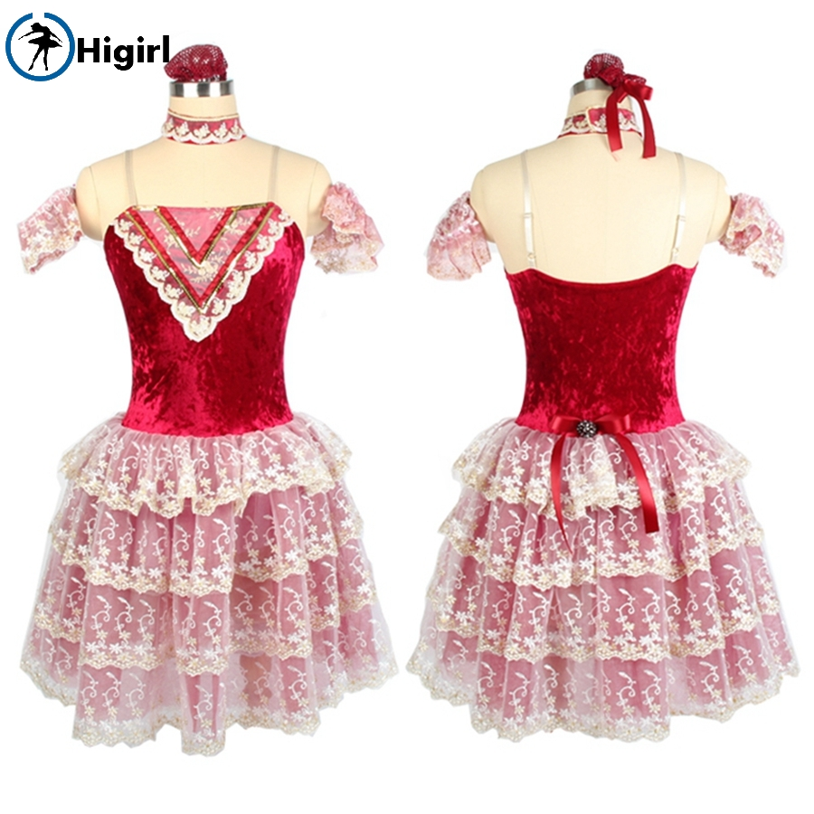 Child Red wine Diamond velvet bodice giselle romantic performance dance tutu dress ballerina BL0110