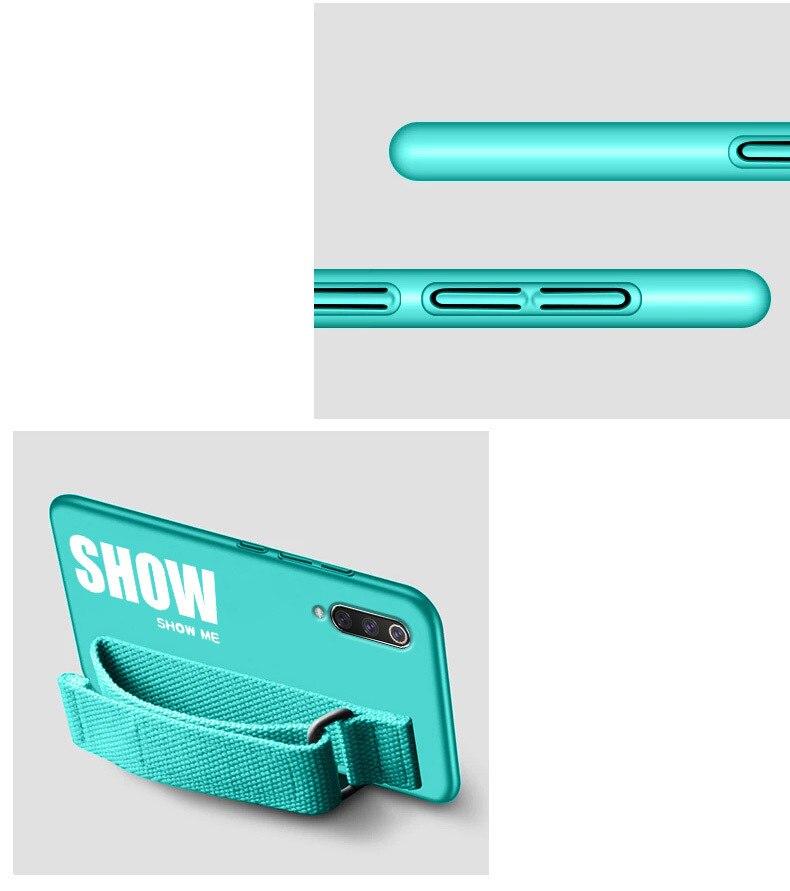 HTB1vt7GLwHqK1RjSZFPq6AwapXav For Xiaomi Mi 9T 9 SE 8 Lite Pro 6 6X A2 A1 Note 10 Max 2 3 Mix 2S CC9 CC9E Redmi K20 Case Silicon Matte Cover Hand Strap Funda