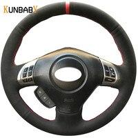 KUNBABY Black Suede DIY Car Steering Wheel Cover for Subaru Forester 2008 2012 Impreza 2008 2011 Legacy 2008 2010 Exiga 2